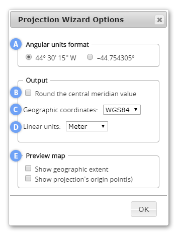 Projection Wizard Options